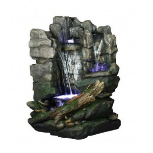 Rock waterfall tabletop statuary fountain with pump - 103x102x200 cm