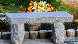 Granite stone bench gray 100x40x44 cm