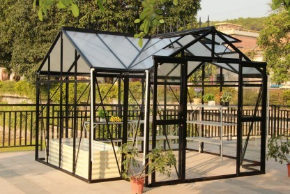Greenhouse maxi hobby delux professionals in T-Format, Black/Safety glass B3.76 x L3.76 x H2.5 m
